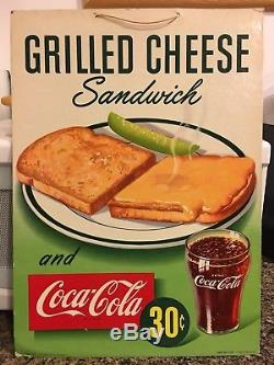 1949 Coca Cola Orig Card Stock Advertisement Grilled Cheese Sandwich