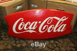 1950-60s Coca-Cola Tin Metal Fishtail Sign AM 75