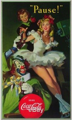 1950 Coca Cola CLOWN/SKATER GIRL Cardboard Sign 16x 27 MINT 9.8+ NOS Condition