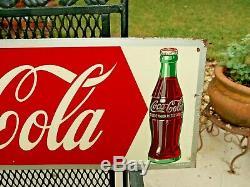 1950 Original Coca Cola Tin Sign with Bottle