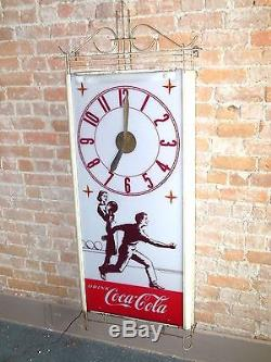 1950'srare Large Coca Cola Bowling Electric Wall Clock. Twisted Wire Frame