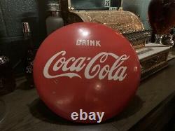 1950's COKE Coca-Cola 16 Porcelain Advertising Button Sign Watch Video