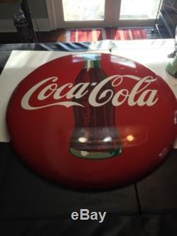 1950's Coca Cola Button 36, Porcelain, Excellent Condition, Vintage Sign