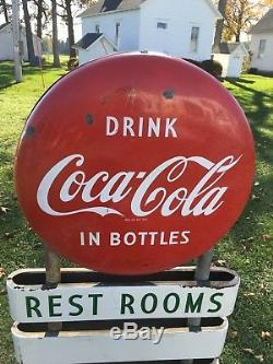 1950's Coca Cola Porcelain Button Lollipop Curb Gas Pump Service Station Sign