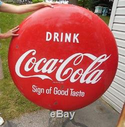 1950's DOUBLE SIDED 48'' DIAMETER PORCELAIN COCA COLA BUTTON SIGN'S 10 FOOT TALL