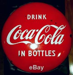 1950's Original 48 Coca Cola Porcelain Button Coke Sign Vintage Soda Pop