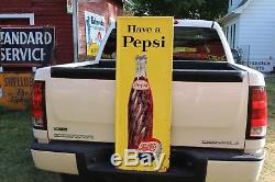 1950's PEPSI COLA EMBOSSED METAL SIGN GAS OIL COKE TEXAS FORD