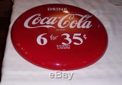 1950's PorcelainRound Button Sign 16 Drink Coca-Cola 6 for 35 cents Mint
