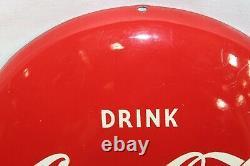 1950's Vintage Coca-Cola Tin Round Button Drink Coke In Bottles 12