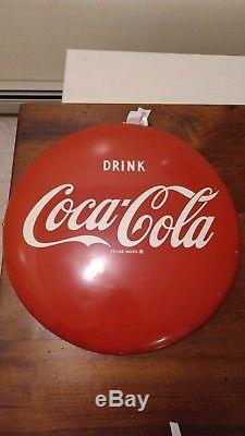 1950's vintage Coca Cola 16 Inch Button Sign