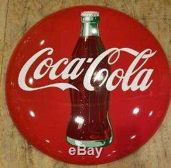 1950s 36 Porcelain Coca Cola Button Sign soda pop advertising Coke gas station