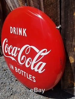 1950s 36in Coca Cola Button Sign. Clean. Porcelain