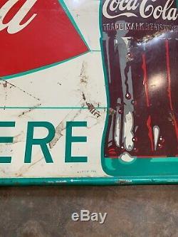 1950s-60's Coca Cola ENJOY 12 oz KING SIZE FISHTAIL BOTTLE SIGN METAL 27
