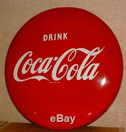 1950s COCA COLA LARGE 24 INCH PORCELAIN BUTTON SIGN NICE CONDITION