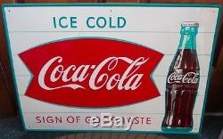 1950s COCA-COLA Metal FISHTAIL SIGN. Sign Of Good Taste. NOS & NICE
