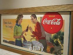 1950s Coca-Cola 32 1/2 x 38 huge Cardboard Billboard FRAMED Sign EXCELLENT