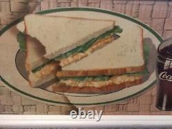 1950s Coca Cola Fishtail Framed Egg Salad Cardboard Sign