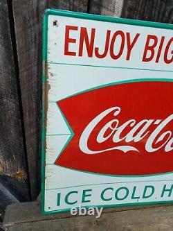 1950s Coca Cola Fishtail Sign. 28inx20in. Painted Metal. Original
