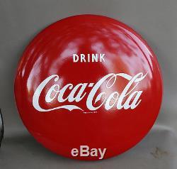 1950s DRINK COCA COLA 24 Porcelain Button Sign SUper Nice