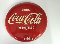 1950s Drink Coca Cola In Bottles Button Soda Pop 12 Metal Sign. NO RESERVE