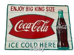 1950s Original Coca Cola ENJOY BIG KING SIZE Vintage Metal Sign