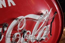 1950s Original Coca-Cola Round Tin neon Coke Soda Advertising sign