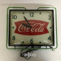 1950s VINTAGE COCA-COLA COKE SODA FISHTAIL NEON LIGHTED DISPLAY PAM CLOCK SIGN