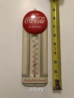 1950s Vintage COCA COLA Red Button Thermometer 9++ Sign
