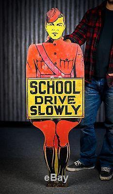 1950s original school crossing guard metal advertising sign
