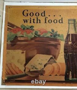 1951 Vintage Original Large Coca Cola Cardboard Sign 56 x 27 VG Condition