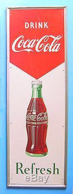 1952 ROBERT SUN 54 X 18 DRINK COCA-COLA REFRESH METAL BOTTLE SIGN