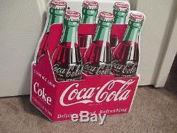 1953 COCA COLA Die Cut 6 Pack SIGN COKE SIGN HARD TO FIND VINTAGE