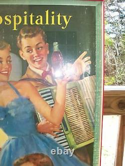 1953 Coca Cola Coke Cardboard Sign Easy Hospitality Framed Under Glass