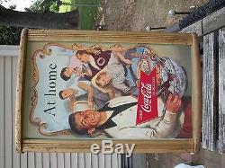 1953 Coke Sign in Original Wood Frame Serve Coca Cola Bottles At Home Old 28X20