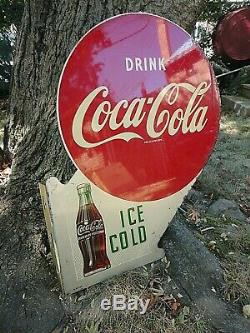 1953 DOUBLE SIDED Ice Cold COCA COLA FLANGE METAL SIGN