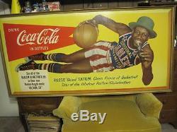 1954 Coca-Cola HARLEM GLOBETROTTERS Advertising Sign GOOSE TATUM -Go Man Go
