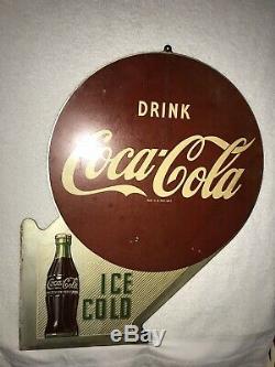 1956 Coca Cola 2 Sided Metal Flange Sign