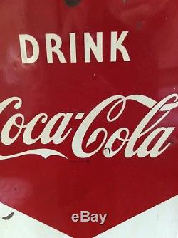 1957 Original Vertical Drink Coca-Cola Refresh Tin Advertising Sign. Vintage