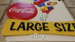 1960's COCA COLA Vacuform Sign Clown with COKE Button RARE plastic sign MINTY