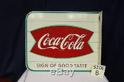 1970s Original Coca-Cola Fishtail Coke Advertising Metal Flange Sign