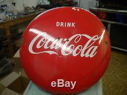 24 Inch Original 1950's Porcelain Coke Button (coca Cola)