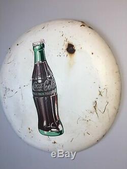 24 RARE Vintage White Metal Coca-Cola Coke Button Sign