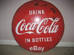 24 inch Drink Coca Cola in Bottles 1950's Coke Button Sign