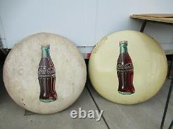 24 original 1950 cream White Coca Cola Coke Button Painted Sign