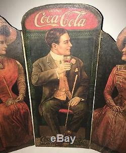 #250 EXTREMELY RARE 1900's COCA COLA CARDBOARD TRI FOLD COUNTER DISPLAY