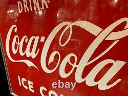 27 ICE COLD COKE Coca-Cola Embossed Tin Advertising Sign Watch Video