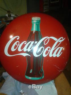 36'' Coca-Cola button type Gas station Sign. Vintage, Antique