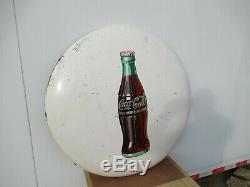 36 Rare original 1951 White Coca Cola Coke Button Sign Painted on Metal