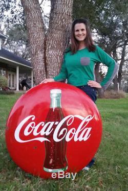 36 Vintage Coca-Cola Sign 1950's Porcelain Button Great Collector's Coke Sign