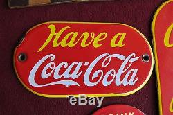 (3) Vtg Coca Cola Porcelain Door push Have a Coke Tin sign nice